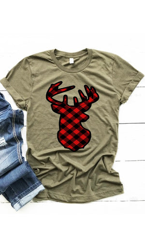 Plaid Deer Graphic Tee