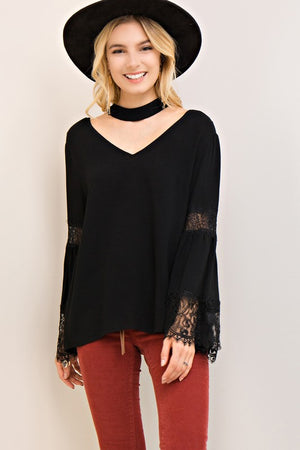 Solid V-neck Choker Top