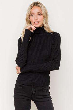 Asymmetrical Button Turtle Neck