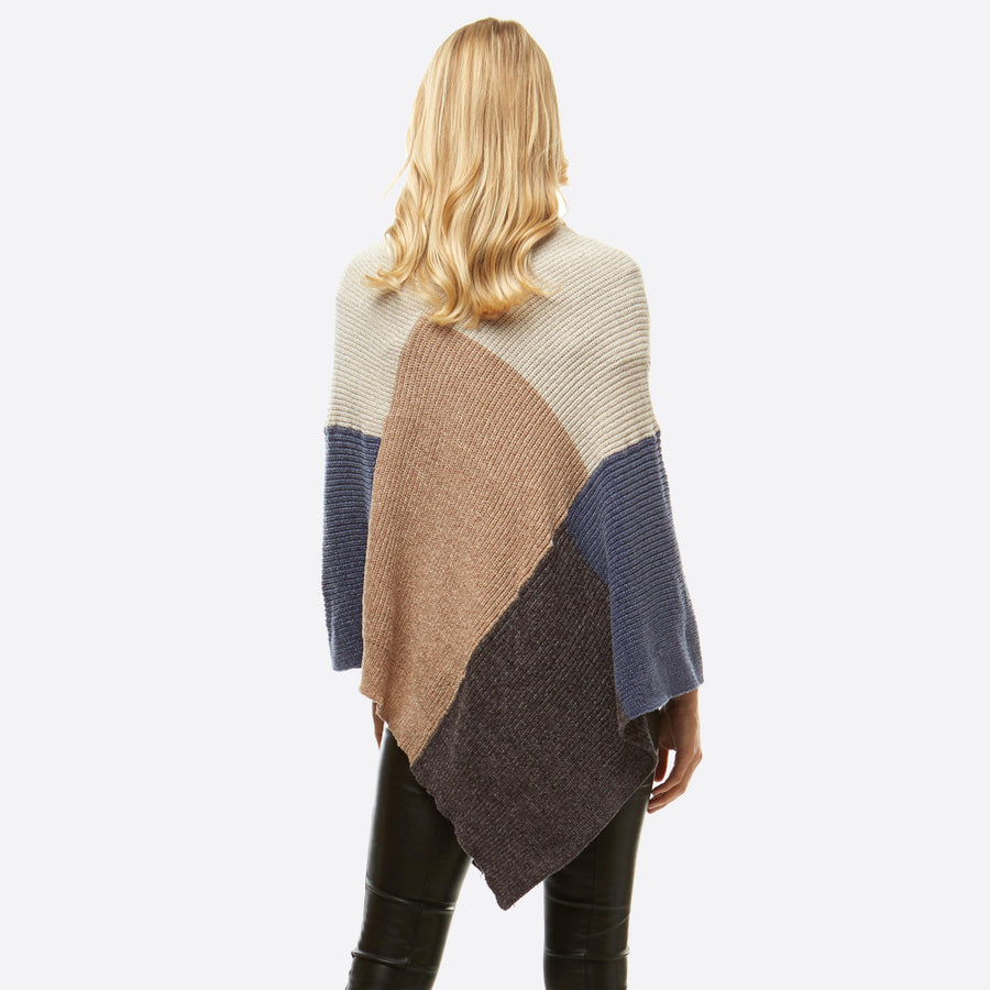 Color Block Chenille Poncho