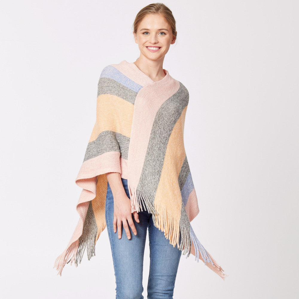 Striped Poncho with Fringes
