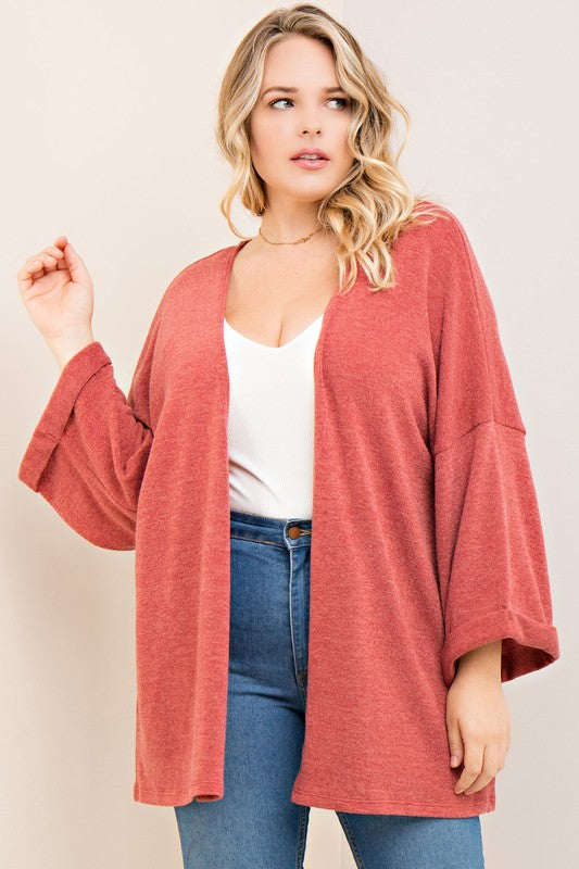 Solid Knit Open Cardigan