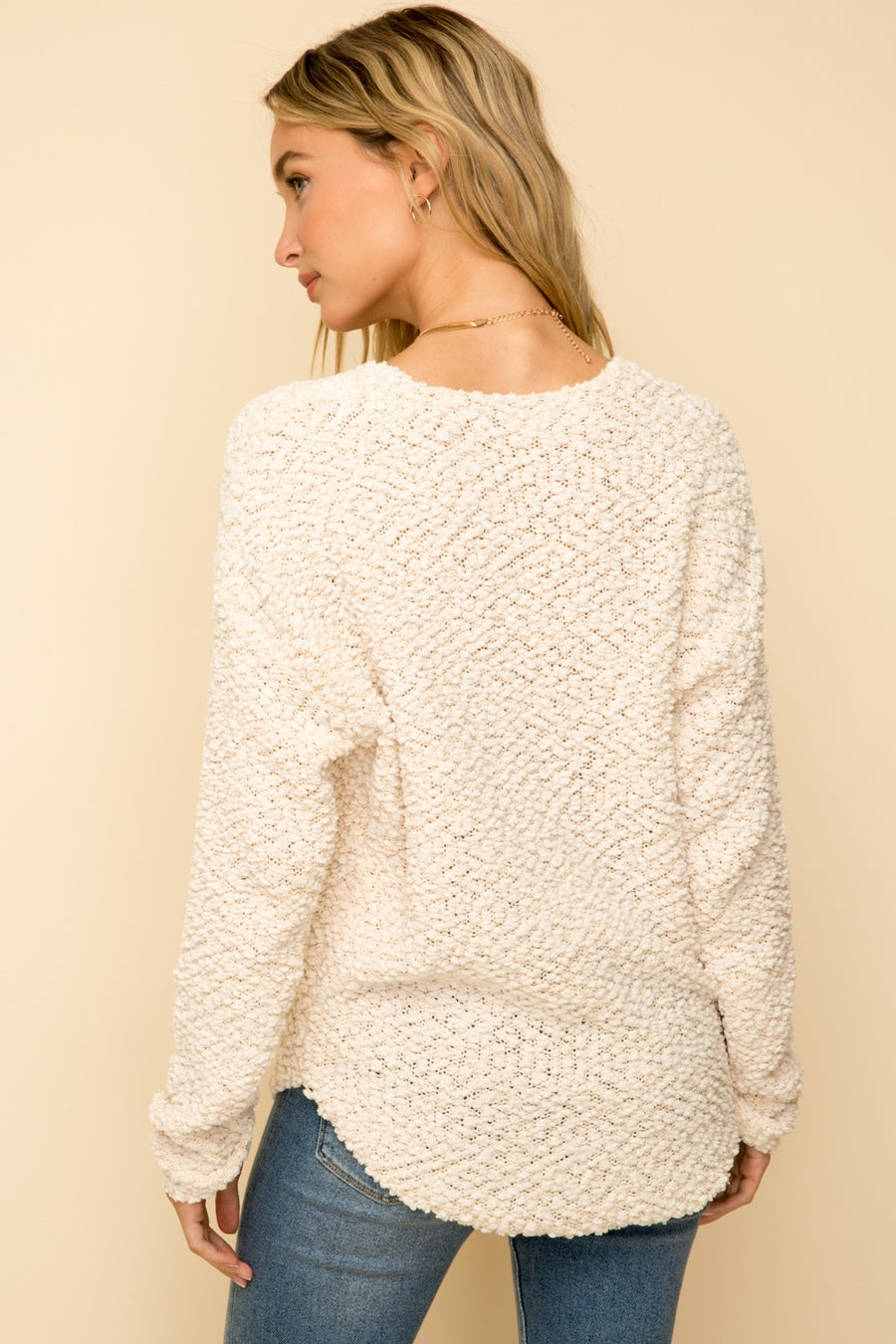 V-Neck Popcorn Sweater