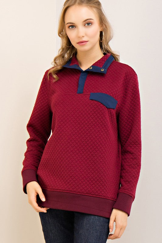 Solid Collar Pullover Sweater