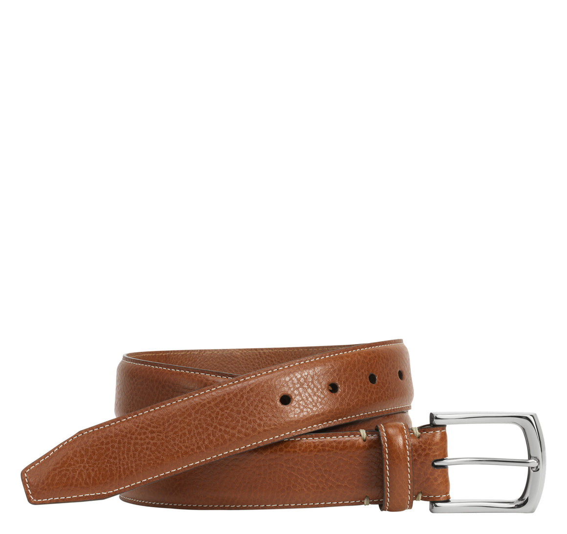 Johnston & Murphy Topstitched Leather Belt