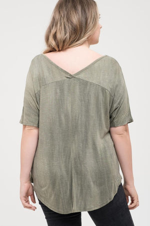 V-neck Top with Front Pocket