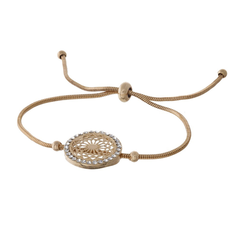 Adjustable Metal Bracelet with Filagree Detail