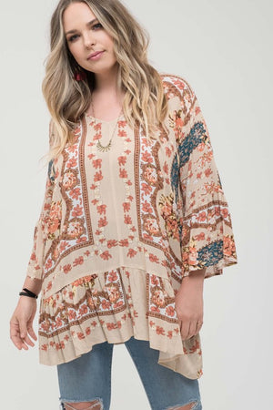 Bell Sleeve Print Woven Top