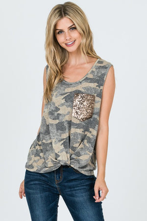 Camo Sequin Pocket Top