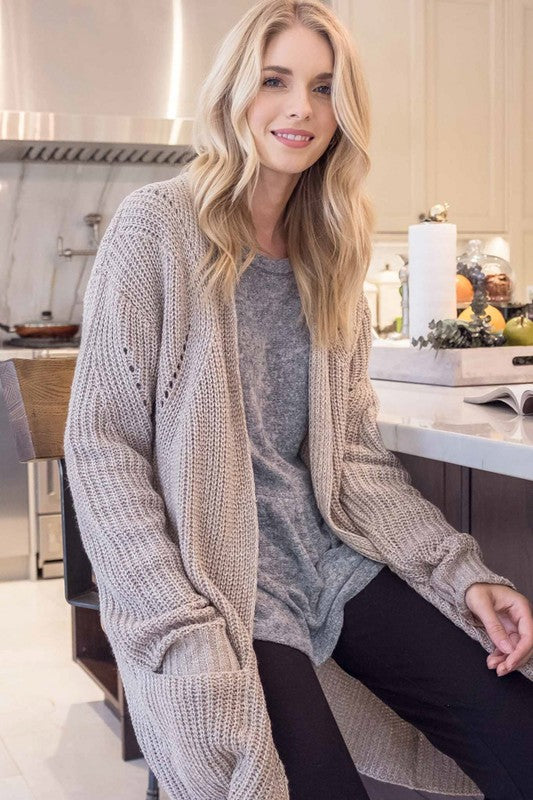 Long Sleeve Front Pocket Open Cardigan