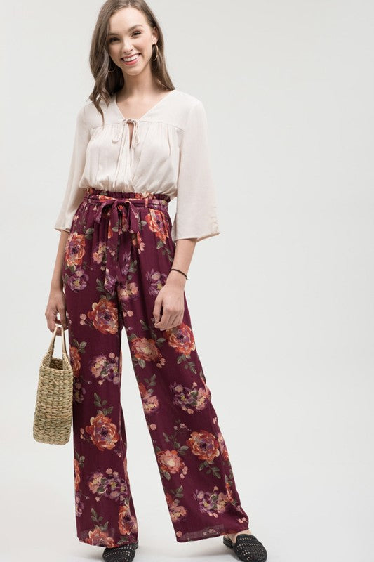 Belted Floral Print Pants