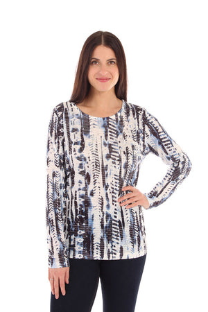 Long Sleeve Printed Top with Metallic Detail