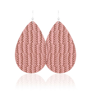 Blush Braid Teardrop Leather Earrings