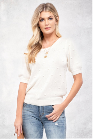 Swiss Dot Puff Sleeve Knit Top