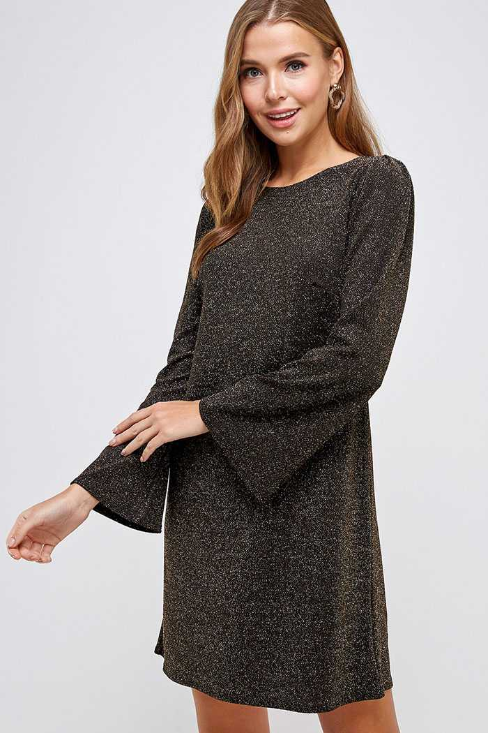 Pleated Bell Sleeve Shift Dress