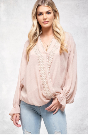 Surplice Crochet Trim Top