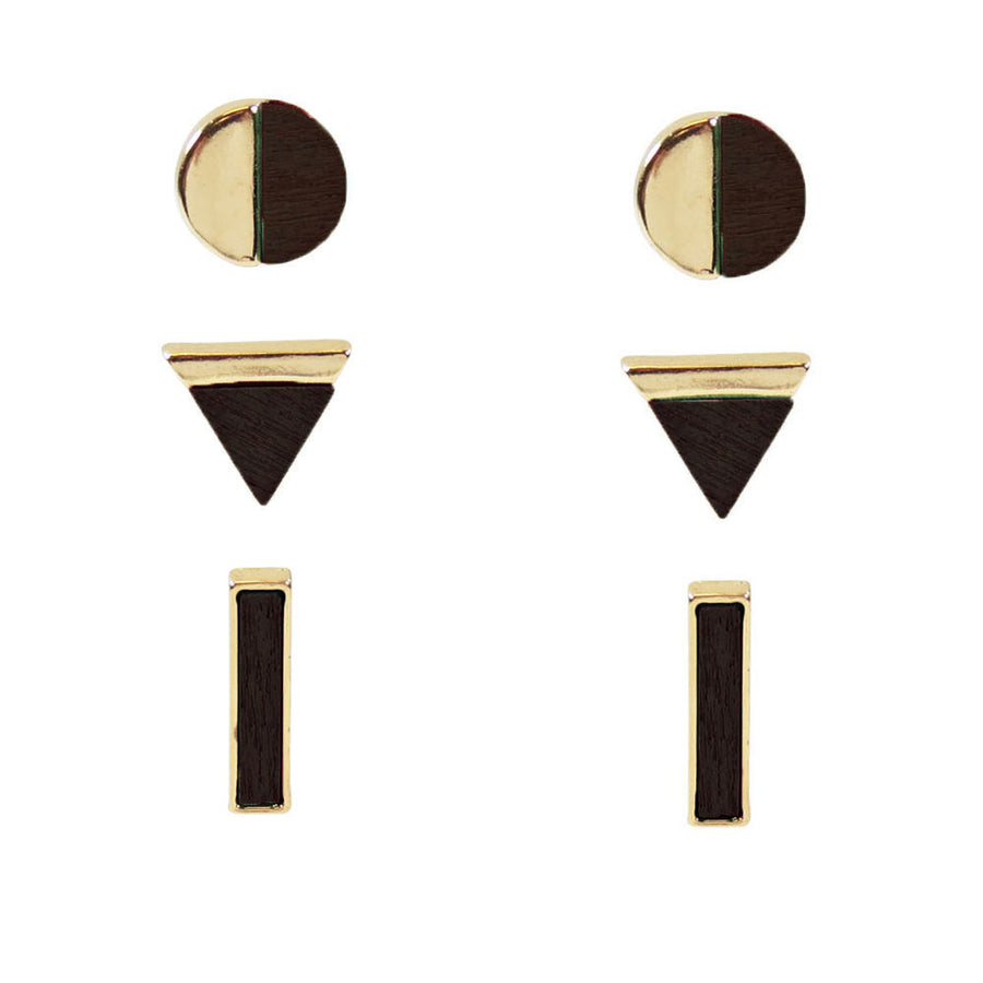 Wood Shaped Stud Earrings