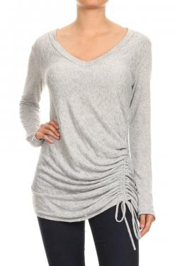 Long Sleeve Top with Side Cinch Detail