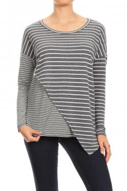 Striped Long Sleeve with Asymmetrical Hem