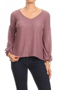 Top with V-Neck and Puff Sleeves