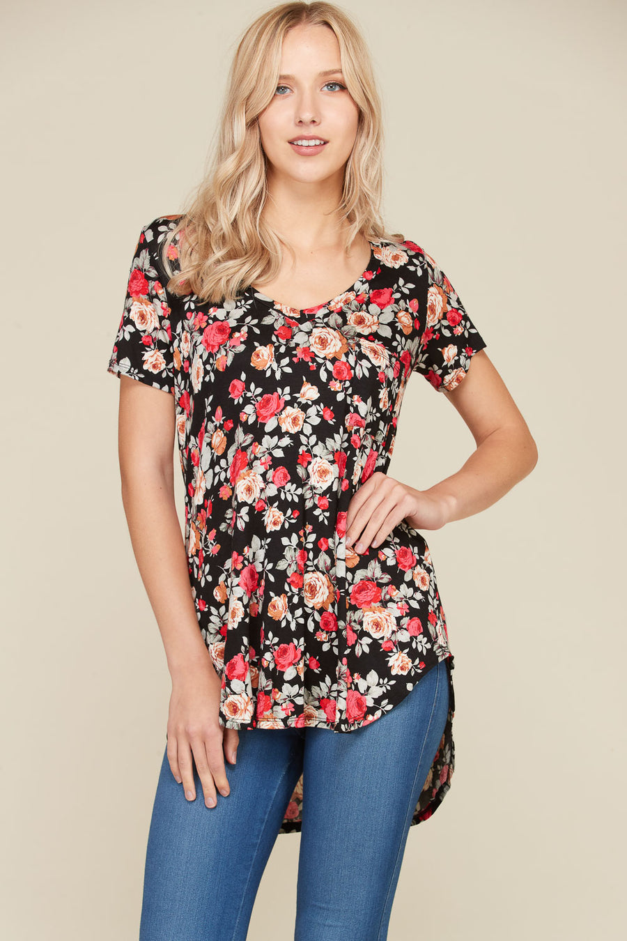 Flower Print V-Neck Top