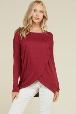 Front Overlap Long Sleeve Top