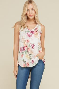 Hi-Low Floral V-Neck Top