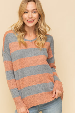 Crisscross Back Stripe Sweater