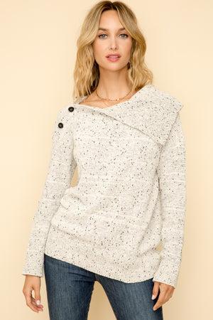 Cozy Chenille Button Up Turtle Neck Sweater