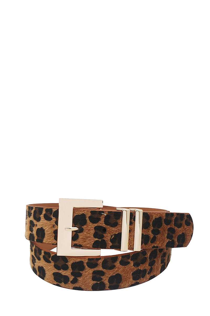 Leopard Fur Accented Belt