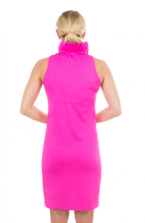 Soild Jersey Ruffneck Sleeveless Dress