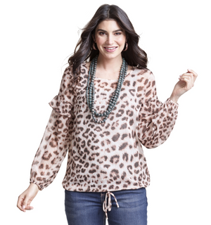 Wrangler Long Sleeve Leopard Top