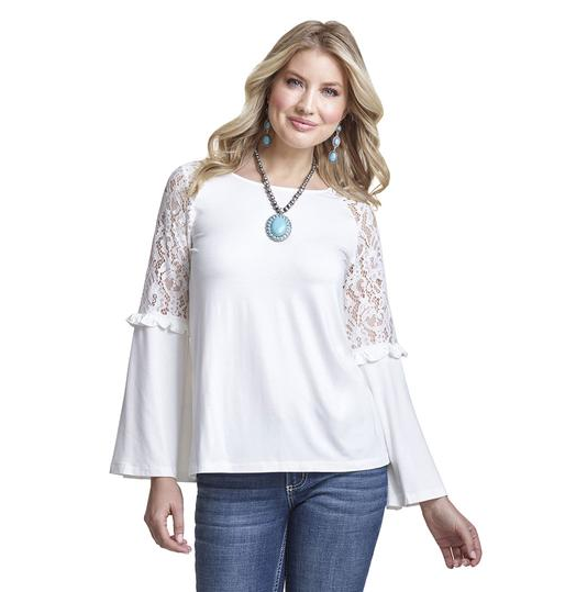 Wrangler Lace Bell Sleeve Top