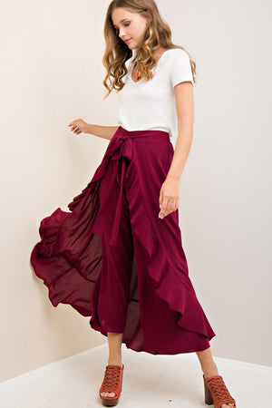 High-Waist Pants Featuring Ruffled Maxi Skirt Overlay