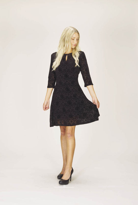 Velvet Burnout Dress with Keyhole