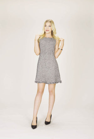 Sleeveless Tweed Dress with Frill