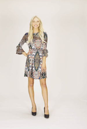 Textured Print Dress with Tie Sleeves