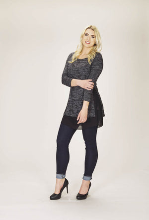 Heathered Tunic with Georgette Underlay
