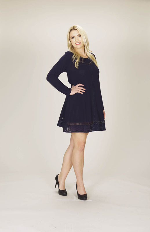 A-line Sweater Dress with Lace Insert