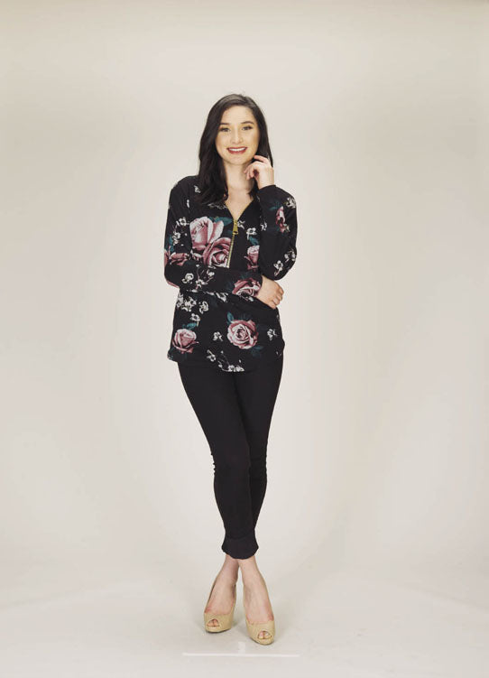 Rose Print Sweater with Zipper Detail