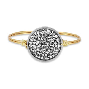 Metallic Silver Druzy Bangle