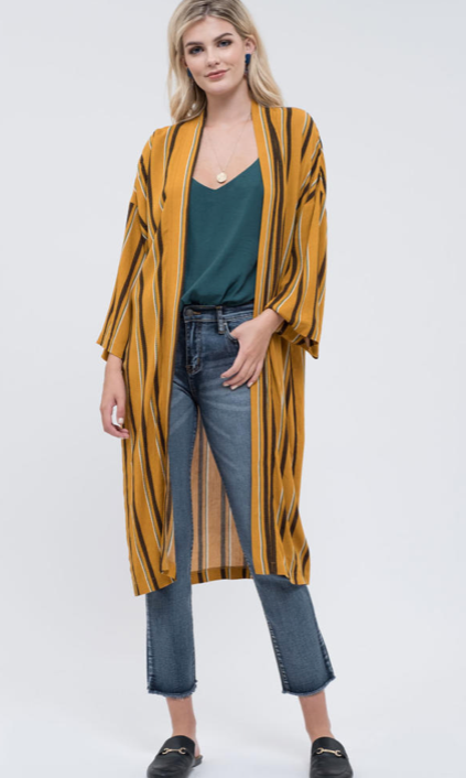 Open Stripe Long Cardigan