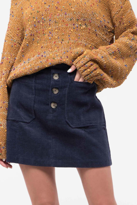 Button-Down Corduroy Mini Skirt