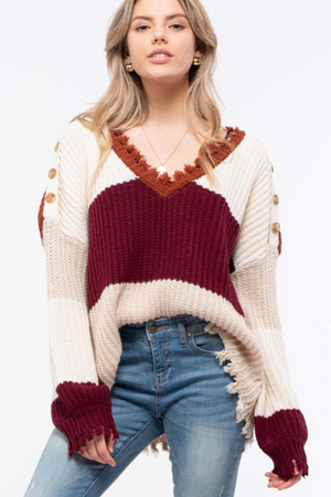 Button Shoulder Distressed Colorblock Knit Sweater