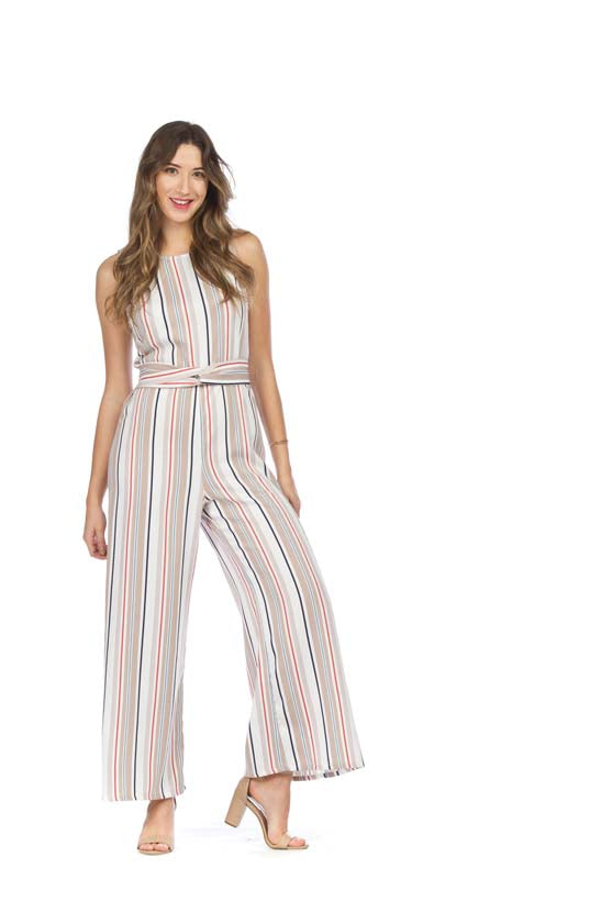 Striped Knotted Front Jumpsuit