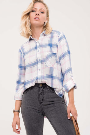 Button Up Plaid Top