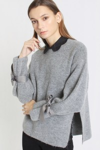 Sweater with Bow Tie Sleeve