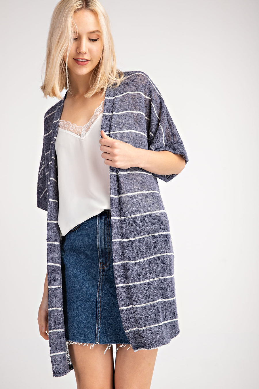 Short Sleeve Knit Cardigan