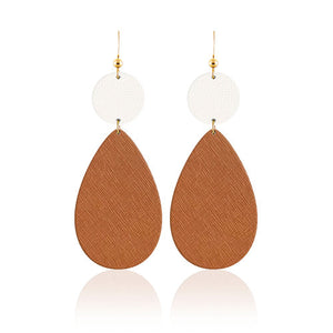 Cognac Teardrop Bauble Leather Earrings