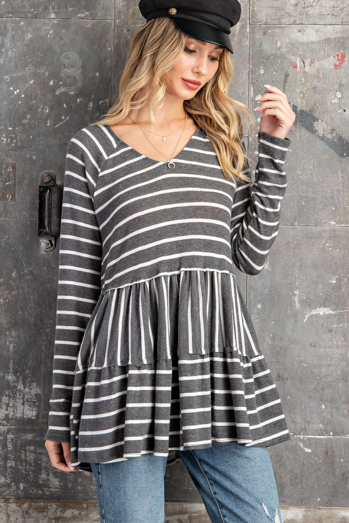 Tiered Stripe Tunic Top